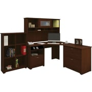 Bush Cabot Collection Corner Desk, Hutch, Lateral File & Bookcase, Harvest Cherry