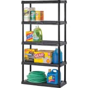 PLASTIC 5-SHELF UNIT, BLACK 72 X 36 X 24