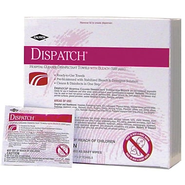 Dispatch® Hospital Cleaner Disinfectants Towels with Bleach, 7in. x 8in. Size, 50/Box