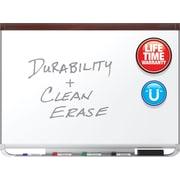 Quartet Prestige® 2 DuraMax® Porcelain Magnetic Whiteboard, Mahogany Frame, 3' x 2
