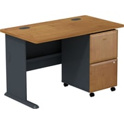 Bush Cubix 48W Desk w/ 2 Dwr Mobile Ped (F/F) - Natural Cherry/Slate Gray, Fully Assembled