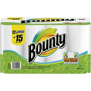 Bounty Paper Towels, 2-Ply, 12 Large Rolls/Pack