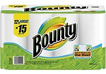 Bounty® Paper Towels, 2-Ply, 12 Large Rolls/Pack
