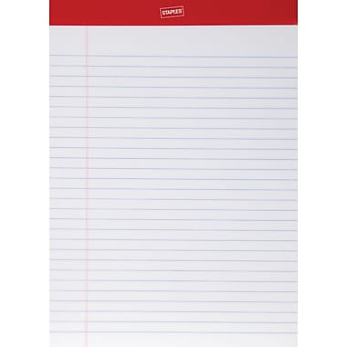 Staples® Perforated Notepad, 8-1/2in. x 11-3/4in., Wide Ruled, White, 50 Sheets/Pad, 12/Pack