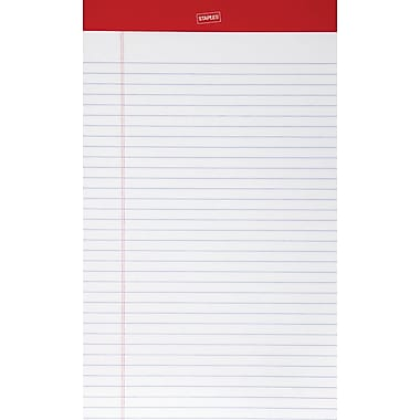 Staples® Perforated Notepad, Wide Ruled, White, 8-1/2in. x 14in., 12/Pack
