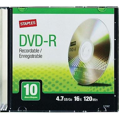 Staples® - DVD-R de 4,7 Go, 16x, paq./10 en boîtiers minces