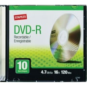 Staples® 4.7GB DVD-R, 16x, 10-Pack with Slim Jewel Cases