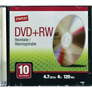 Staples® 4.7GB DVD+RW, 10-Pack with Slim Cases