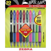 Zebra® Sarasa® Retractable Gel-Ink Pens, Medium Point, Assorted, 10/Pack