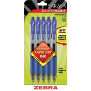 Zebra® Sarasa® Retractable Gel-Ink Pens, Medium Point, Blue, 5/Pack