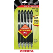 Zebra® Sarasa® Retractable Gel-Ink Pens, Medium Point, Black, 5/Pack