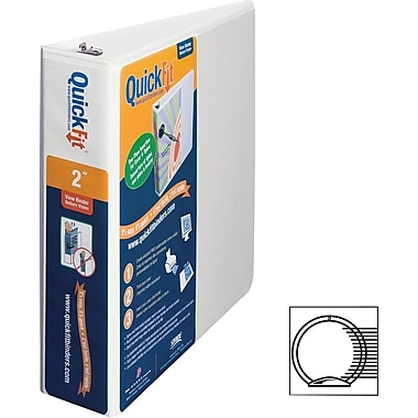 Stride QuickFit Round Ring Unique Design Binder, White, 2in.