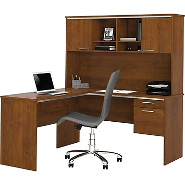Bestar flare l shape desk with hutch tuscany brown staples for S shaped office desk