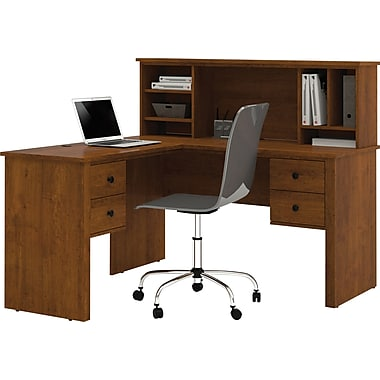 Bestar Somerville L-Shape Desk With Hutch, Tuscany Brown