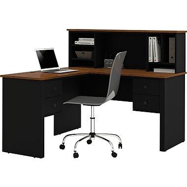 Bestar Somerville L-Shape Desk With Hutch, Black & Tuscany Brown