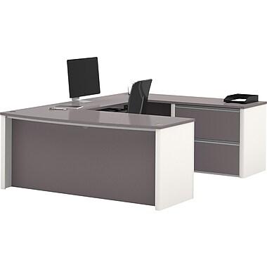 Bestar Connexion U-shaped Workstation Kit, Sandstone & Slate