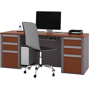 Bestar Connexion Collection Double Pedestal Executive Desk, Bordeaux & Slate