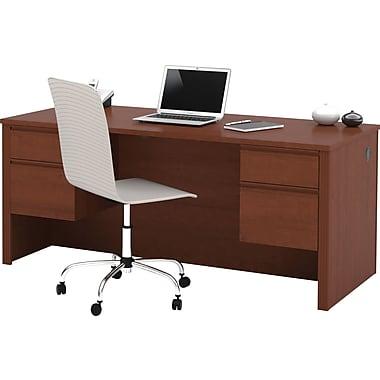 Bestar Prestige+ Double Pedestal Desk, Cognac Cherry