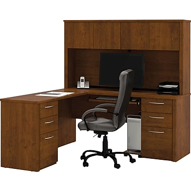 Bestar Embassy Collection L-Shaped Desk & Hutch With Two Pedestals, Tuscany Brown