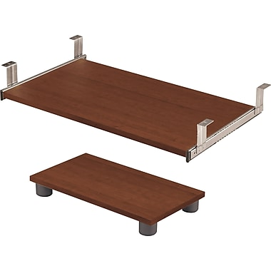 Bestar Prestige+ Keyboard Shelf and CPU Caddy, Cognac Cherry