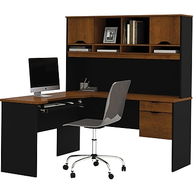 Bestar Innova Collection L-Shaped Workstation with Hutch, Tuscany & Black