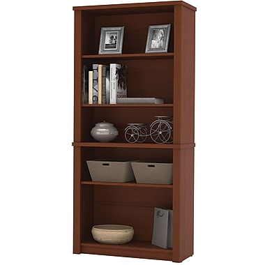Bestar Prestige+ 5-Shelf Bookcase, Cognac Cherry