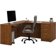 Bestar Embassy Collection L-Shaped Desk Kit With One Pedestal, Tuscany Brown