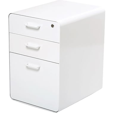 "Poppin™ West 18th 20"" Deep, 3-Drawer Metal File Cabinet, Letter/Legal Size, White"