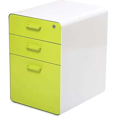"Poppin™ West 18th 20"" Deep, 3-Drawer Metal File Cabinet, Letter/Legal Size, Lime Green"