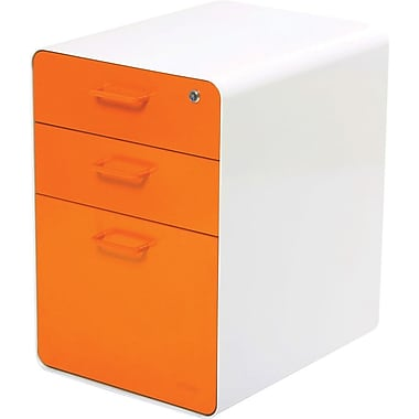 "Poppin™ West 18th 20"" Deep, 3-Drawer Metal File Cabinet, Letter/Legal Size, Orange"