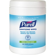 PURELL® Sanitizing Wipes, 6 in x 6.75 in., 270/Canister