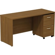 Bush Business Westfield 60W Desk/Credenza Shell with 2-Drawer Mobile Pedestal, Cafe Oak, Installed