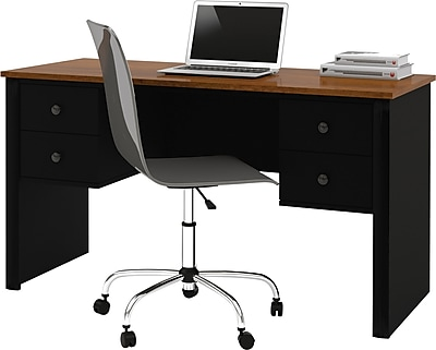 Somerville Executive Desk with Two Pedestals, Black and Tuscany Brown 203987