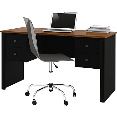 Somerville Executive Desk with Two Pedestals, Black and Tuscany Brown