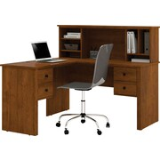Bestar Corner Computer Desk, Black/Tuscany Brown (45850-63)