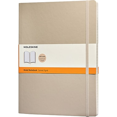Moleskine Classic Notebook, Extra Large, Ruled, Khaki Beige, Soft Cover, 7-1/2in. x 9-3/4in.