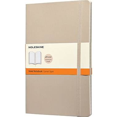 Moleskine Classic Colored Notebook, Large, Ruled, Khaki Beige, Soft Cover, 5