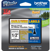 "Brother TZE TAPE TZE-FX231CS 1/2"" FLEXID Label Tape Black on White"