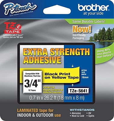 Brother TZe S641CS P Touch 3 4 Label Tape Black on Yellow with Extra Strength Adhesive