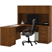 Bestar Embassy L-Workstation with Hutch and Pedestals, Tuscany Brown
