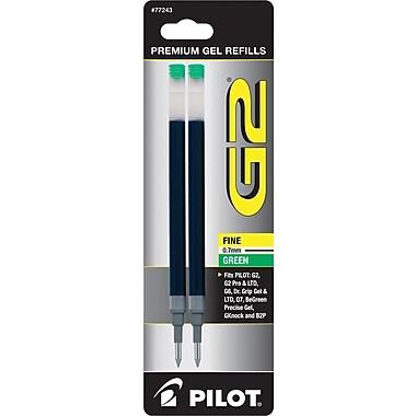 Pilot Gel Roller Refill, Fine Point, Green, 2/Pack (77243)