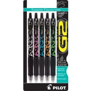 Pilot G2 Fashion Retractable Gel Ink Pens, Fine Point, Assorted Fashion Barrels, Black Ink, 5/Pack (31373)