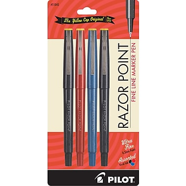 Pilot Razor Point Fine Line Marker Pens, Ultra Fine Point, Assorted, 4/Pack (11045)