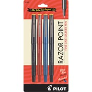 Pilot Razor Point Marker Pens, Ultra Fine Point, Assorted, 4/Pack