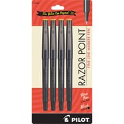 Pilot Razor Point Marker Pens, Ultra Fine Point, Black, 4/Pack