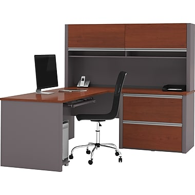 Bestar Connexion L-Workstation w/ Hutch and Oversized Pedestal, Bordeaux/Slate