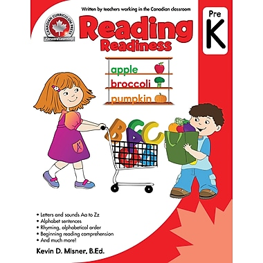 Canadian Curriculum Press – Cahier d'exercices de lecture, pré-maternelle, anglais