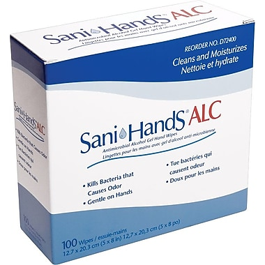 Sani-Hands® Antimicrobial Alcohol Gel Hand Wipes, 100/Box