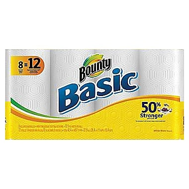 Bounty Basic Paper Towel Rolls, 8 Giant Rolls/Pack