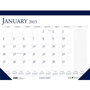 House of Doolittle Compact Desk Pad Calendar, Deep Blue and Gray, 18 1/2 x 13, Each